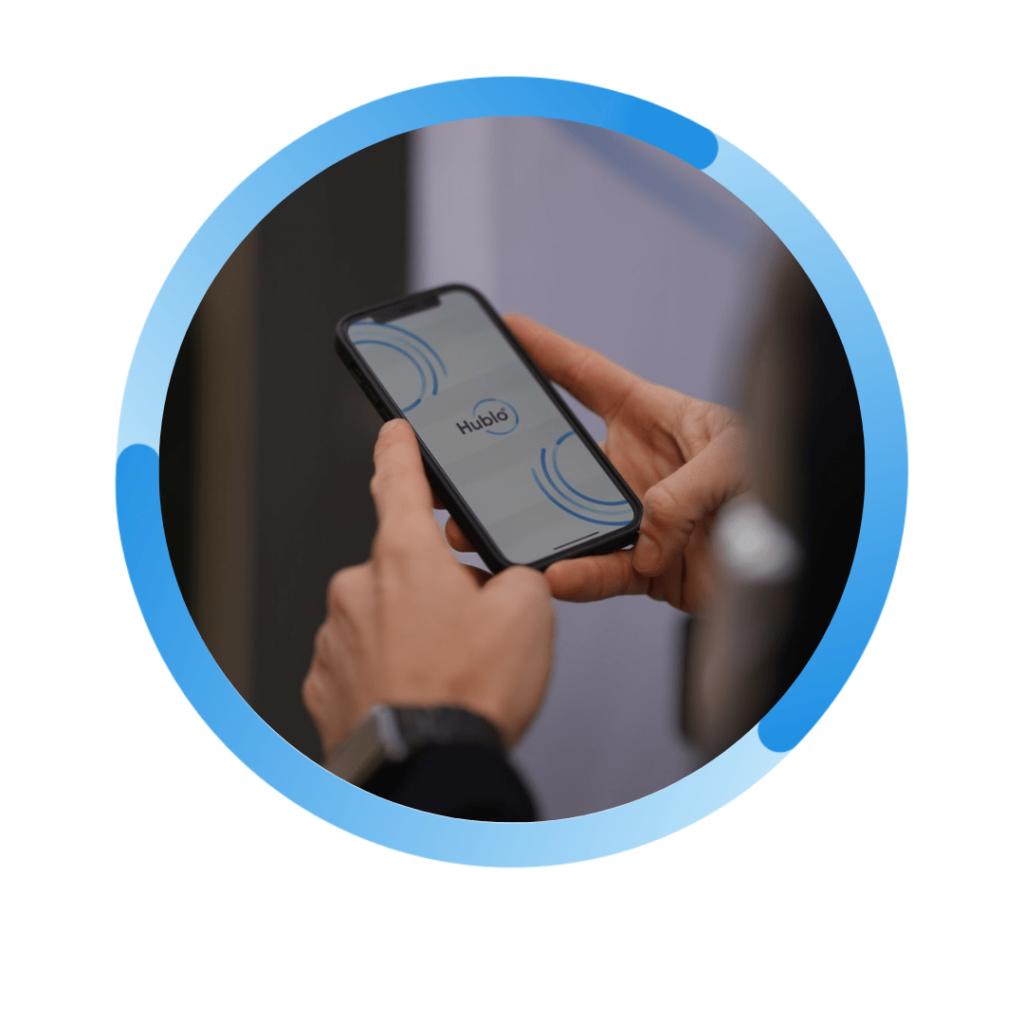 écran d'accueil de l'application Hublo sur mobile