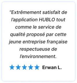 avis 5 étoiles d'un client satisfait du service Hublo. Respect de l'environnement
