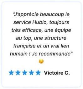 avis 5 étoiles d'un client satisfait du service Hublo. Met en avant le coté proximité, local et humain du service à domicile Hublo